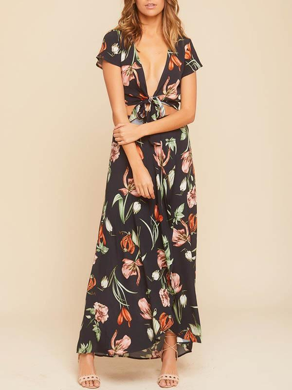 Two-pieces Printed V-neck Suits Dress