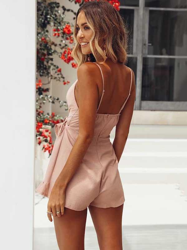 Backless Falbala Condole Belt Romper