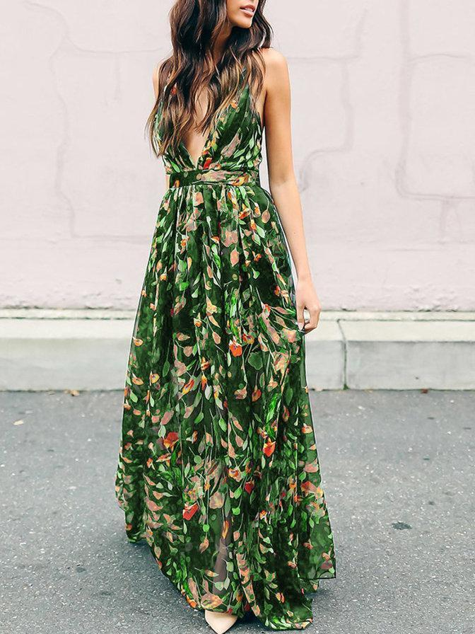 aff76c5c87e Bohemia Floral V Neck Backless Maxi Dress – chicboho