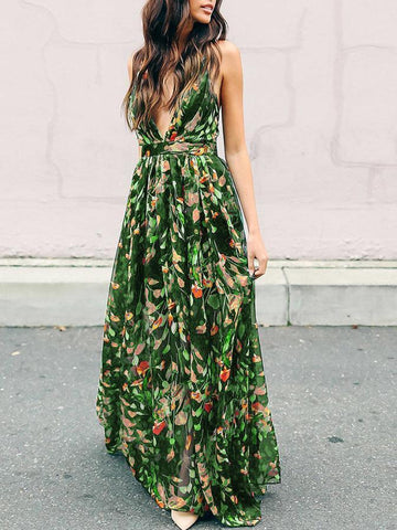 Printed Falbala Sleeves Backless Maxi Dress