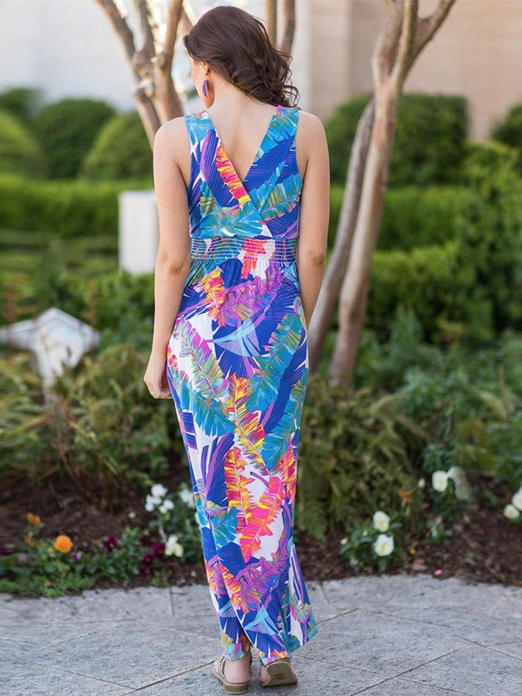 Bohemia Floral V Neck V-back Maxi Dress