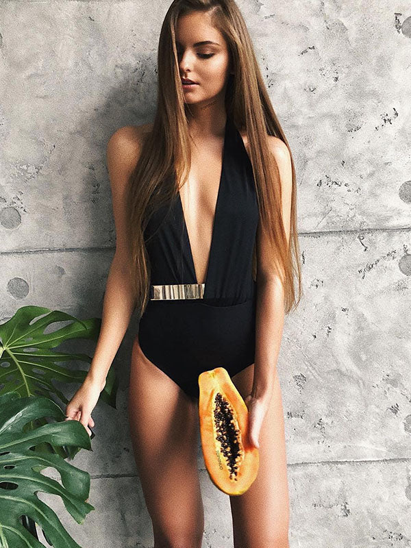 Plain Deep-V Metal Belt One-piece Swimwear