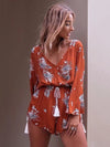 Casual V-Neck Long sleeve Floral Short Jumpsuits