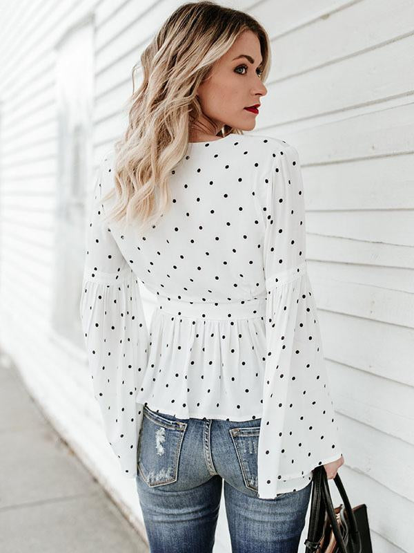 Bodycon Dot Flared Sleeves Jacket