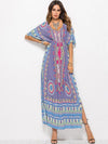 V-neck Waisted Printed Maxi Dress
