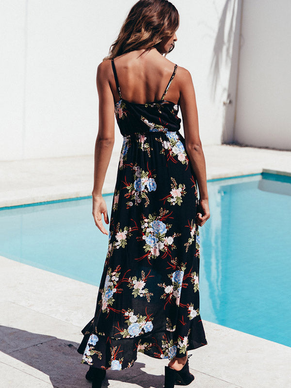 Floral Printed V-neck Sexy Maxi Dress