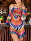 Fashion Floral-Printed Half Sleeve Bohemia Beach Cover-Ups