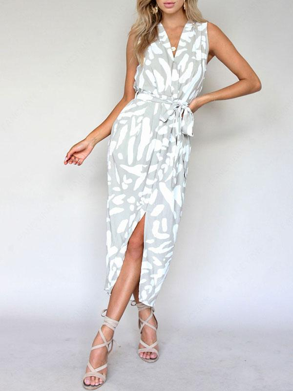 Bandage Waist Split-front Sleeveless Floral Midi Dress