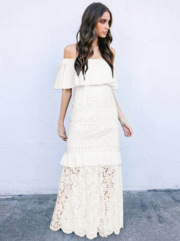 Off-the-shoulder Falbala Lace Maxi Dress
