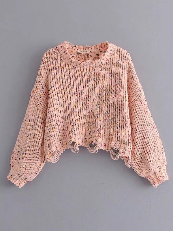 Knitting Holes Loose Sweater Tops