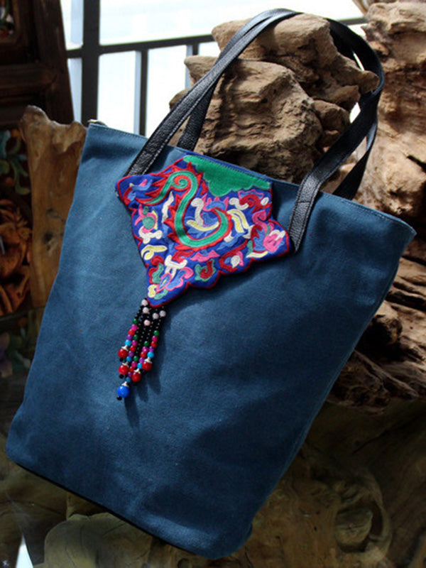 Canvas Embroiered Vintage Tote Bag