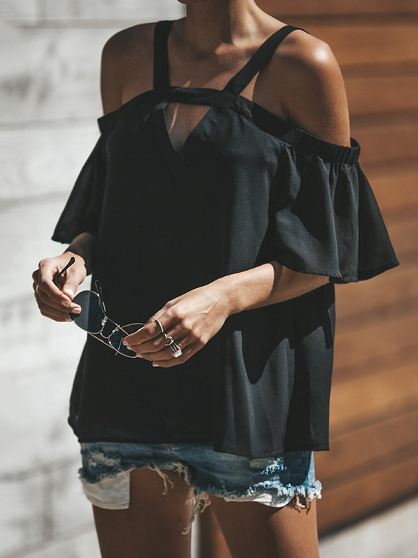 Flared Sleeves Off Shoulder Blouses&shirt Tops