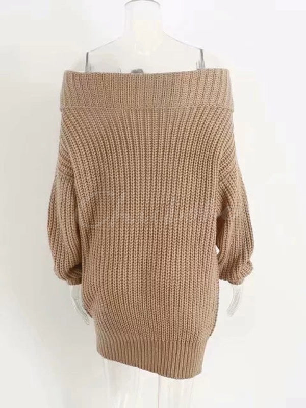 Loose Off-the-shoulder Knitting Sweater