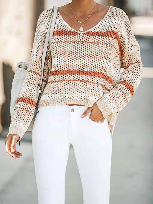 Hollow Apricot V-neck Knitting Sweater Tops