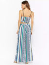 Stripe Spaghetti-neck Crisscross Tops And Wide Leg Pants Suits