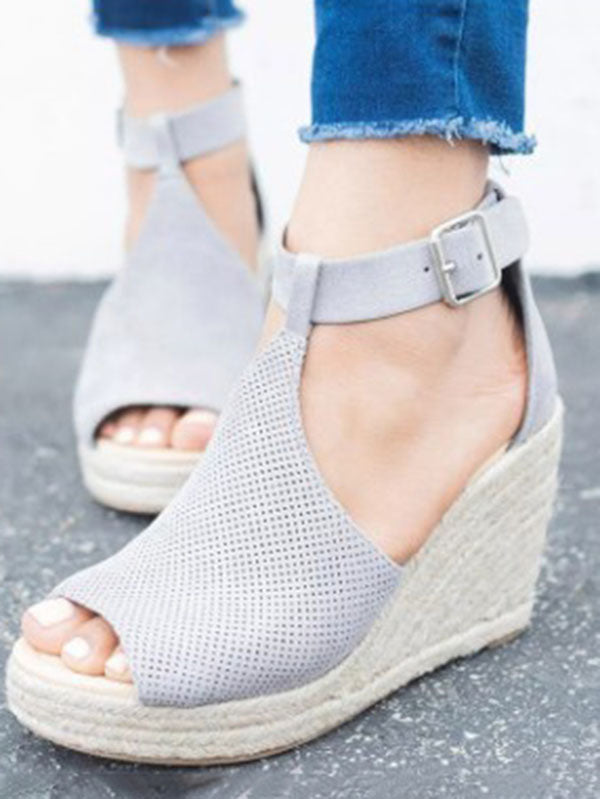 Fashion Open-toe Slipsole Wedge Heels Sandals Shoes