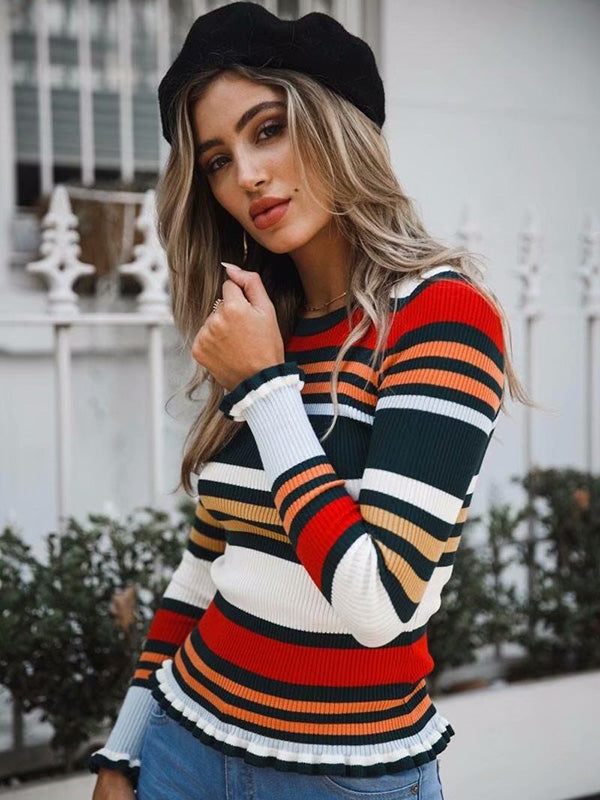 Bodycon Round-neck Stripes Sweater Tops