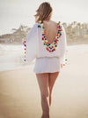 Pompoms Bandage Half Sleeves Mini Dress