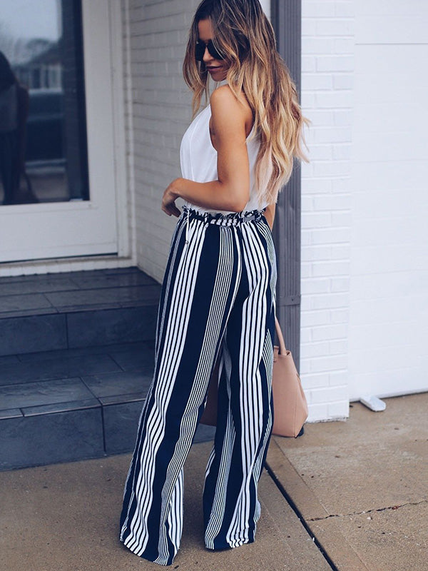Fashion Striped Floral Belt Wide Leg Pants