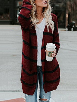 Fashion Stripes Cardigan Sweater Tops