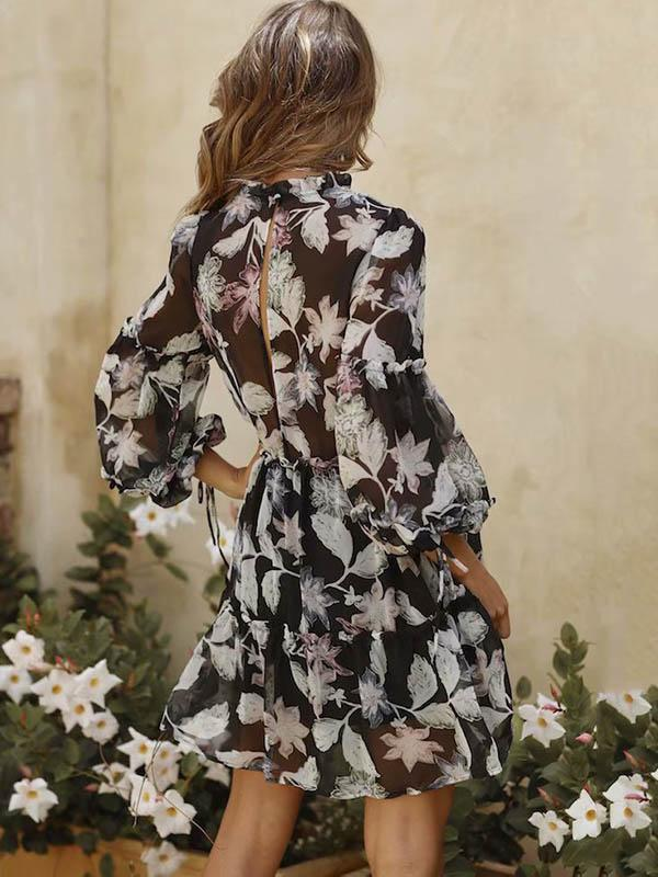 Retro Long Sleeves Floral Midi Dress