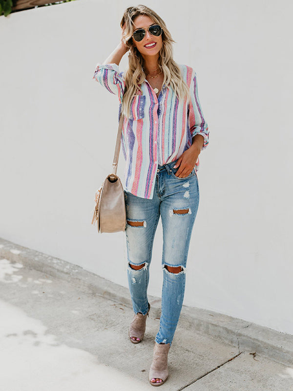 Multicolor Stripes Fashion Blouses&shirts Tops