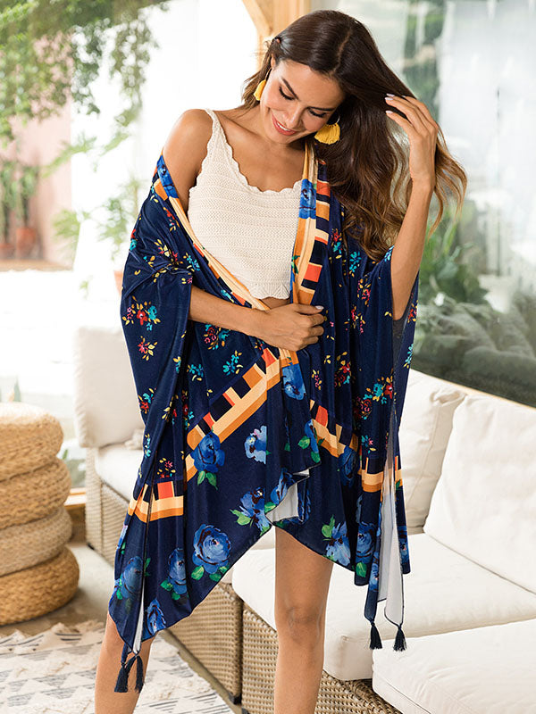 Beach Vacation Tassels Floral Mask Cover-ups