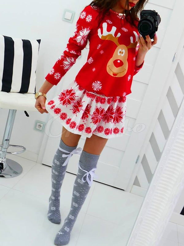 Snowflakes Elk Christmas Mini Dress
