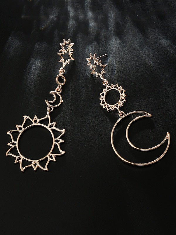 Hollow Vintage Sun&Moon&Star Pattern Pendant Earrings