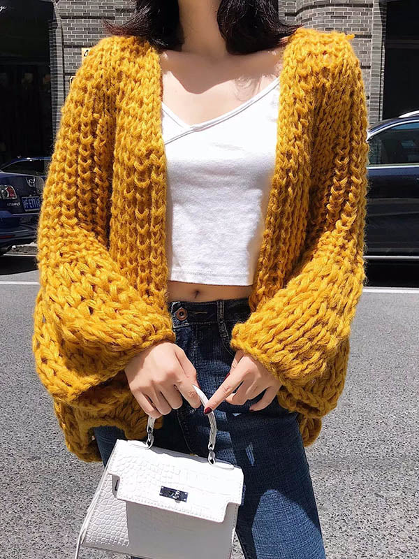 Puff Sleeves Loose Cardigan Sweater Tops