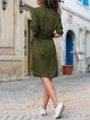 Lapel V-neck 3/4 Sleeves Midi Dress
