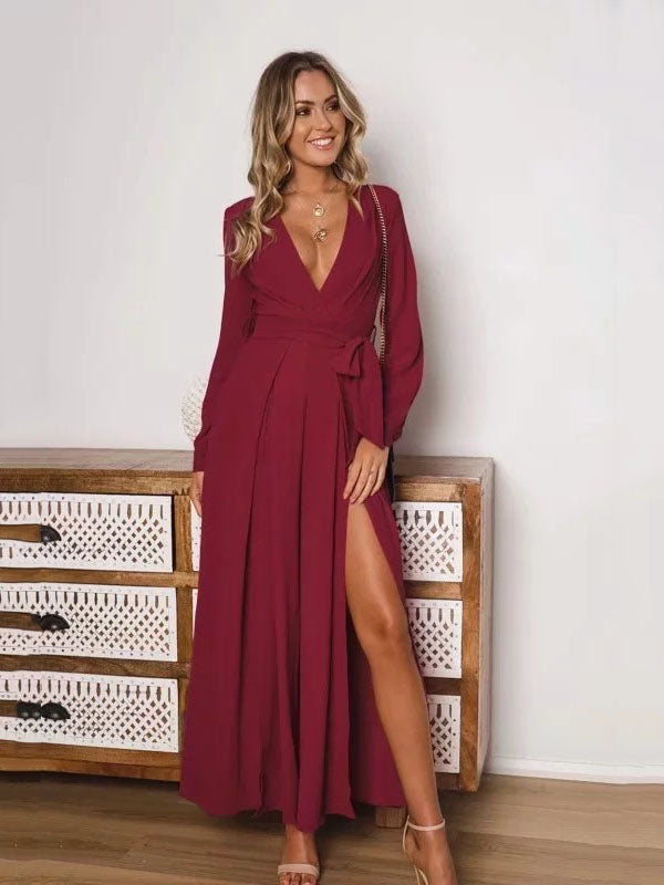 Solid Color Long sleeve Deep V-neck Wide Leg Suits