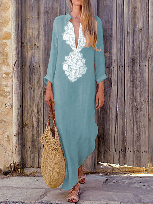 1183e0b599 Deep V-neck Long Sleeves Split-side Maxi Dress – chicboho