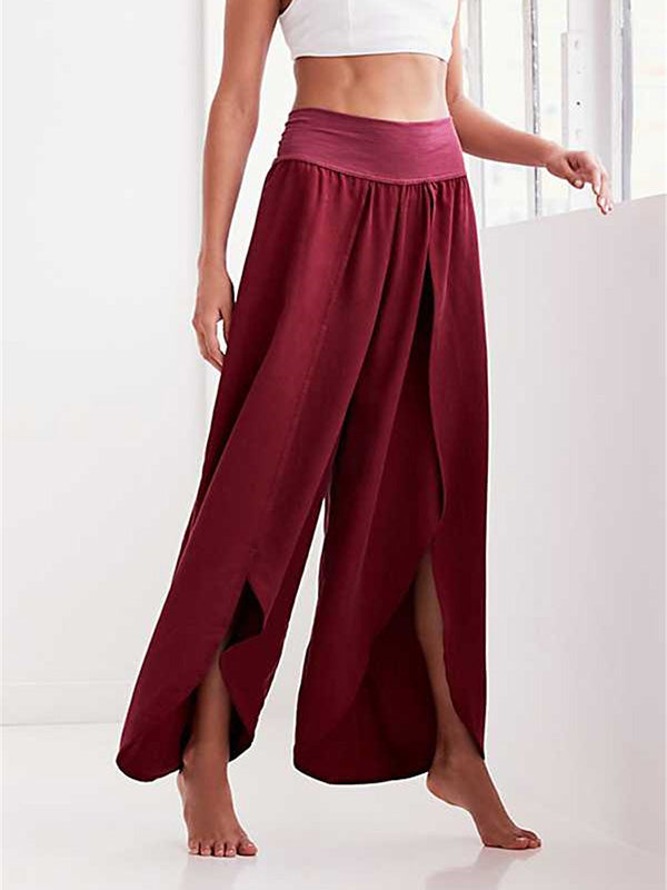 Solid Color Wide Leg Split Bottom Casual Pants
