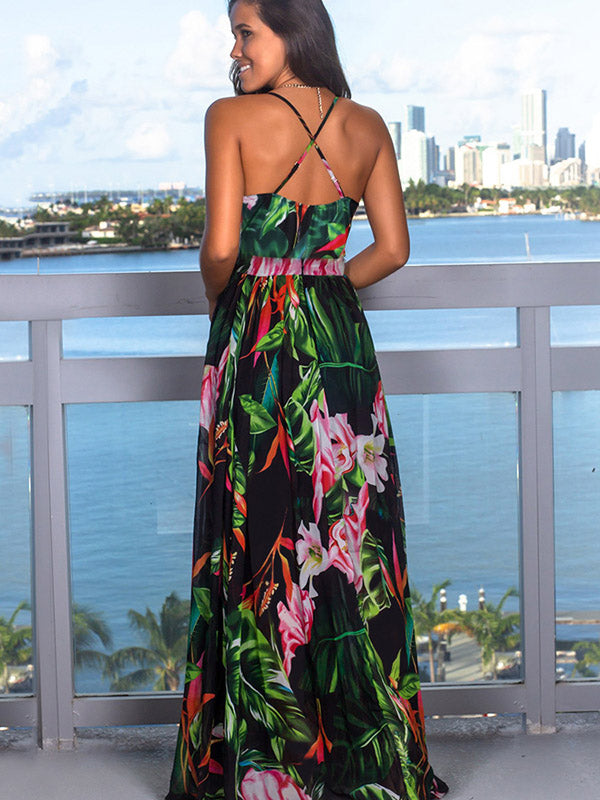 V-neck Backless Floral Printed Maxi Dress