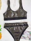 Sequined Split-Joint Vest Split Bikini Swimsuit