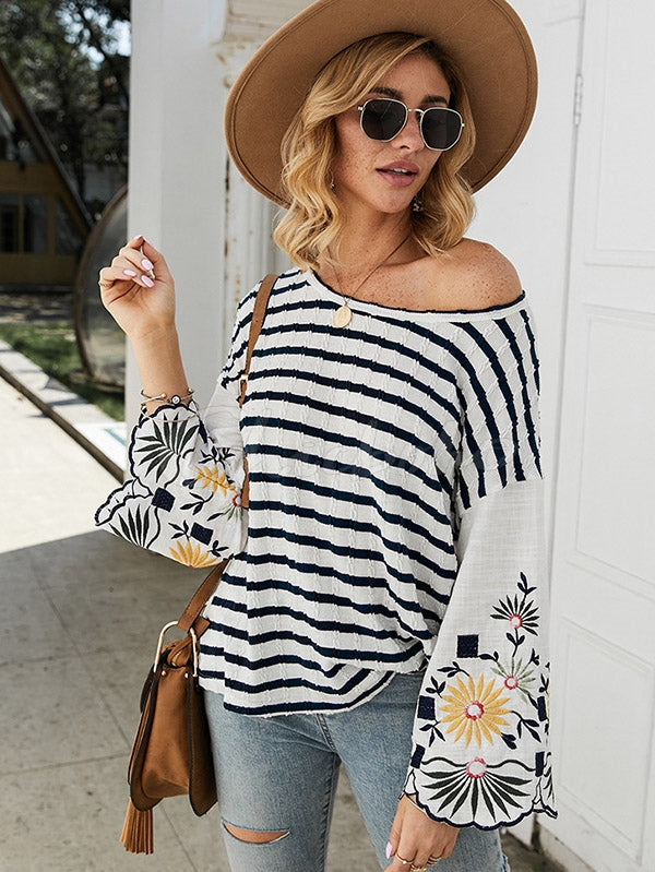 Embroidered Striped Long-Sleeved T-Shirt