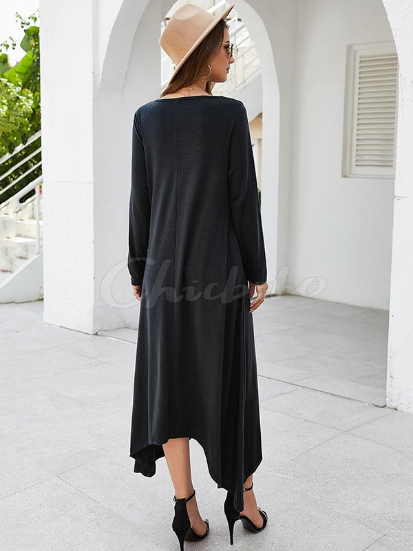 Plain Round-neck Maxi Dress