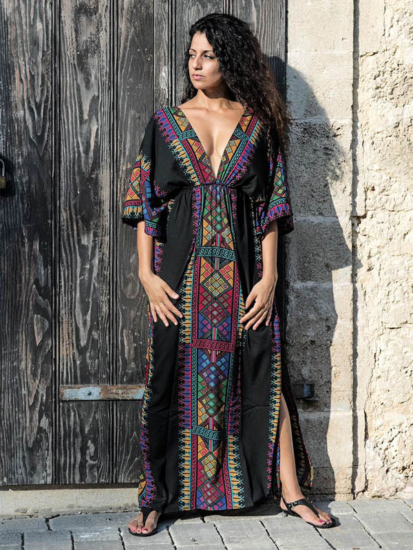 Bohemia V-neck Waisted Kaftan Cover-ups