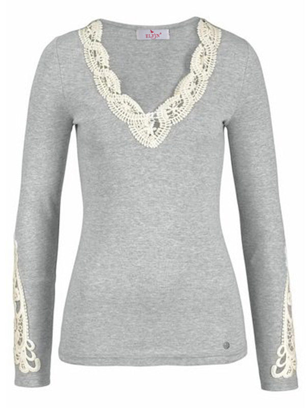 New Long Sleeve Cotton Lace T-Shirt