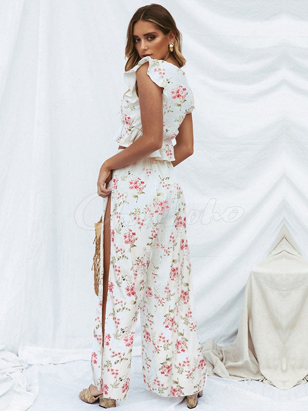 Ruffled Sleeveless Floral Top&Wide-leg Pants Set
