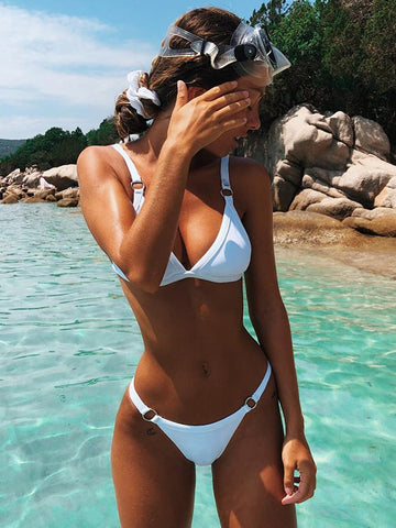 Plain Hollow Lace Bikini Set
