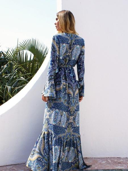 Bohemia Flared Sleeves Maxi Wrap Dress