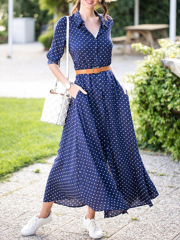 Polka-dot V-neck Long Sleeves Maxi Dress