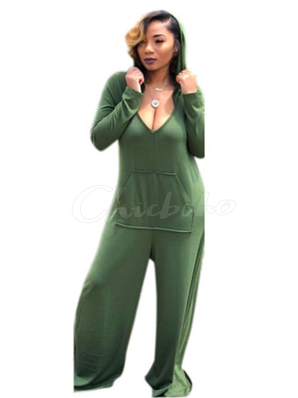 Loose Solid Pocket Hoodie Wide Leg Jumpsuits