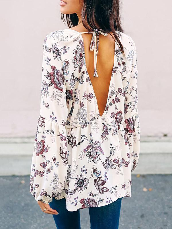 V-neck Printed Lace-up Blouses&Shirt Tops