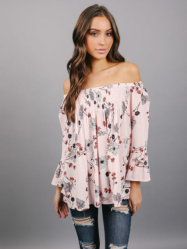 Chiffon Off-the-shoulder Flared Sleeves Blouses&shirts Tops