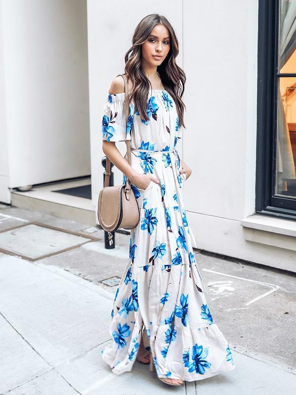 Bohemia Printed Off-the-shoulder Maxi Dress