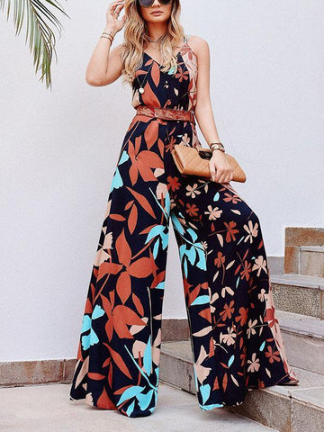 Floral V-neck Backless Wide Leg Jumpsuits