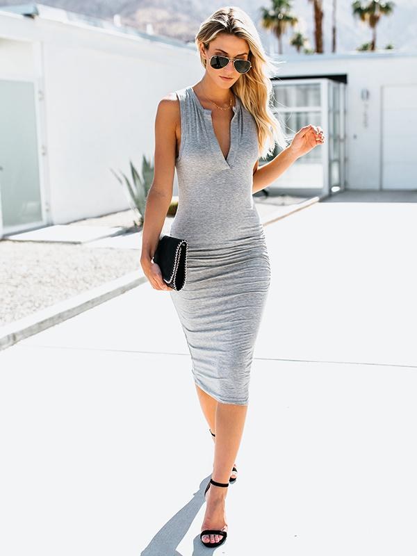 Sexy Sleeveless Bodycon V-neck Midi Dress